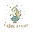 believe in unicorn typography and unicorn vector image vector image