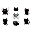 black fat cat set nail claw scratch sitting vector image vector image