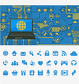 Blue Computer Board with a Laptop vector image vector image