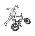 bmx bike sport bicycle sketch engraving vector image