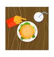 Burger Fries Drink Retro vector image vector image
