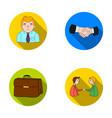 businessman handshake portfolio agreement vector image vector image