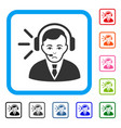 call center operator framed dolor icon vector image vector image