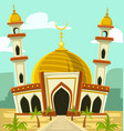 cartoon mosque building middle east vector image vector image