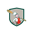 Chef Cook Marching Spoon Shield Cartoon vector image vector image