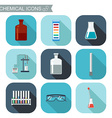 Chemical icons Flat design with shadows Chemical vector image vector image