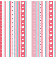 chic seamless striped pattern with hearts endless vector image vector image