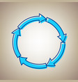 circular arrows sign sky blue icon with vector image