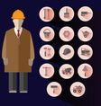 Construction Icons Set Builder vector image vector image