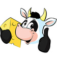 Cow hold Cheese vector image vector image