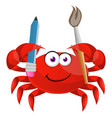 crab with paintbrush on white background vector image vector image