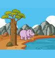 cute hippo by the pond vector image