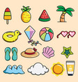 cute sea and summer doodle vector image vector image