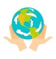 Earth hands vector image vector image