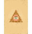eye pyramid grunge vector image vector image