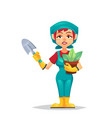 farmer woman in boots gloves with shovel and vector image