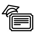 final exam diploma icon outline style vector image vector image
