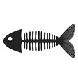 fish skeleton symbol in black icon fishbone vector image vector image