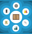 flat icon games set of arrow mahjong jigsaw and vector image vector image