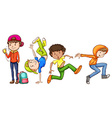 Four hiphop dancers vector image