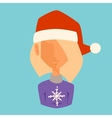 Girl Christmas Santa red hat avatar face icon vector image vector image