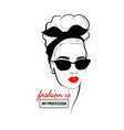 glamour woman in black sunglasses red lips vector image vector image