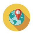 Globe with pin vector image