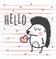 hello hedgehog vector image vector image
