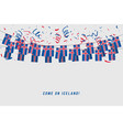 iceland garland flag with confetti vector image vector image