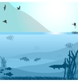 Lake with fish and birds near the mountain vector image vector image