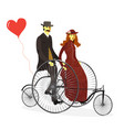 loving couple riding on a bicycle isolated vector image