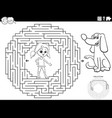 maze game with girl and puppy dog coloring book vector image vector image