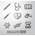 medicine and health care colorful freehand icons vector image vector image