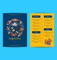 menu template for restaurant shop or cafe vector image