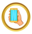 Mobile phone in hand icon vector image vector image