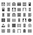 modern vintage door and window icon set solid vector image