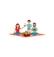 mother father and their little son on picnic vector image vector image
