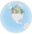 north america with canada on globe vector image vector image