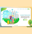 older travelers landing page website vector image