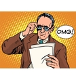 OMG surprised boss business concept vector image vector image