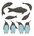 Penguins and Fish Collection vector image