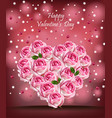 pink roses heart realistic happy valentine vector image vector image