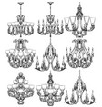 rich baroque classic chandelier set luxury decor vector image vector image