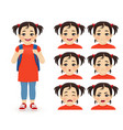 school asian girl emotions vector image vector image