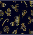seamless pattern of golden christmas symbols vector image