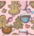 seamless pattern with colored gingerbread men vector image