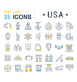 Set Flat Line Icons USA and America vector image vector image