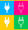 socket sign four styles of icon on vector image