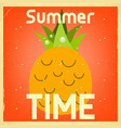 summer time retro square poster vector image vector image