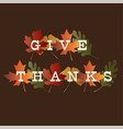 thanksgiving give thanks typography on gradient vector image vector image